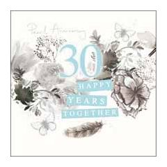 30 jaar jubileum - wenskaart van woodmansterne - 30 happy years together pearl anniversary