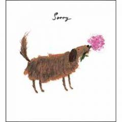 wenskaart woodmansterne - sorry - hond met bloem