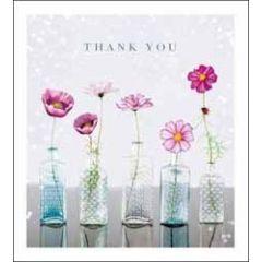 bedankkaart woodmansterne - thank you - bloemen in vaasjes