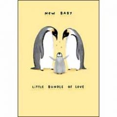 geboortekaartje - new baby little bundle of love - pinguins