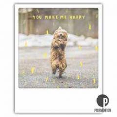 ansichtkaart instagram pickmotion - you make me happy - hondje