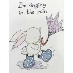 wenskaart mouse & pen - i m singing in the rain