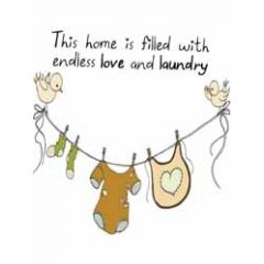 wenskaart mouse & pen - this home is filled with endless love and laundry - kleertjes aan waslijn