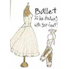 wenskaart mouse & pen - ballet is like dreaming with your feet!