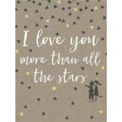 wenskaart  piano small notecards - i love you more than all the stars