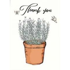 wenskaart mouse & pen - thank you - lavendel
