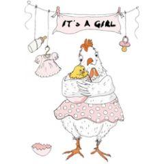 geboortekaartje mouse & pen - it s a girl