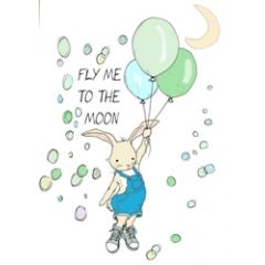 wenskaart mouse & pen - fly me to the moon - konijntje blauw