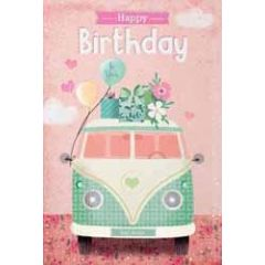 verjaardagskaart - happy birthday to you - vw busje