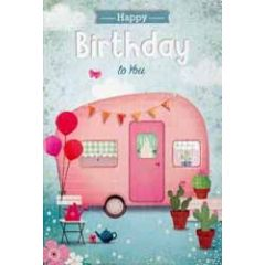 verjaardagskaart - happy birthday to you -  caravan roze
