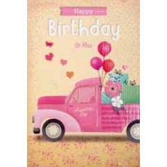 verjaardagskaart - happy birthday to you -  auto roze