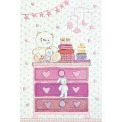 geboortekaartje - commode met knuffels - roze