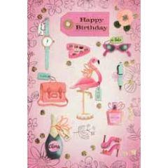 verjaardagskaart - happy birthday - flamingo roze