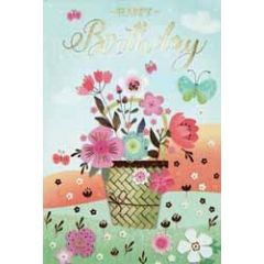 verjaardagskaart - happy birthday - bloemen in pot