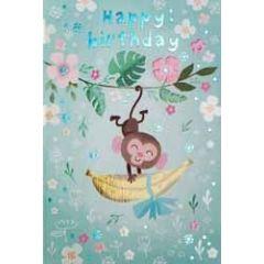 verjaardagskaart - happy birthday - aapje met banaan