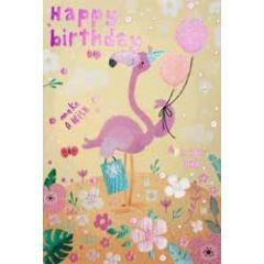 verjaardagskaart - happy birthday make a wish - flamingo