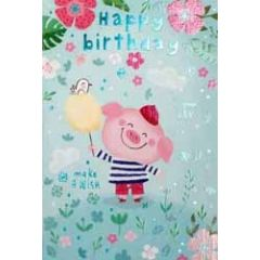 verjaardagskaart - happy birthday make a wish - biggetje met ballon