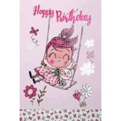 verjaardagskaart pinki - happy birthday - meisje op schommel