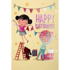 verjaardagskaart pinki - happy birthday - slingers ophangen