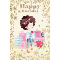 verjaardagskaart - happy birthday - meisje met rode roos en tassen
