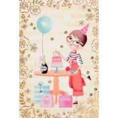 felicitatiekaart - meisje met taart en ballon