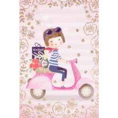 felicitatiekaart - meisje op scooter