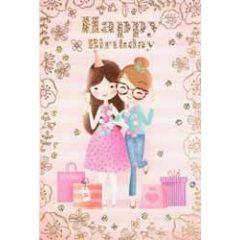 verjaardagskaart  - happy birthday - meisjes met tassen