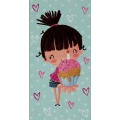 verjaardagskaart - cadeau envelop pinki - meisje met cupcake