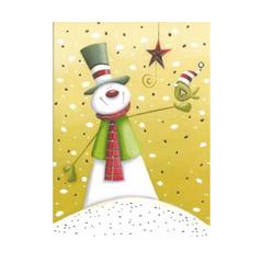 kerst ansichtkaart met goudfolie - sneeuwpop