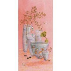 wenskaart - gaelle boissonnard - bloemen, vissen in vaasjes roze