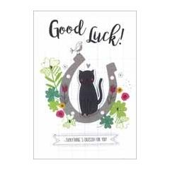 wenskaart - good luck everything is crossed for you! - zwarte kat, hoefijzer, klavertje vier