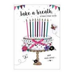 verjaardagskaart - take a breath close you eyes and wish away - taart