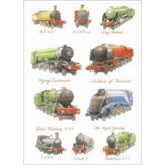 wenskaart clanna cards - flying scotsman - great western - stoomlocomotief