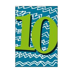 10 jaar - verjaardagskaart woodmansterne - blauw groen