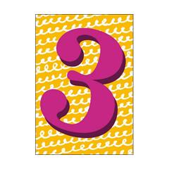 3 jaar - verjaardagskaart woodmansterne -  paars geel