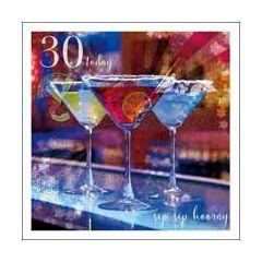 30 jaar - verjaardagskaart woodmansterne esprit - 30 today sip sip hooray - cocktail