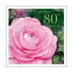 80 jaar - verjaardagskaart woodmansterne esprit - glorious 80th birthday - roos