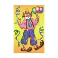 wenskaart - clown - geel
