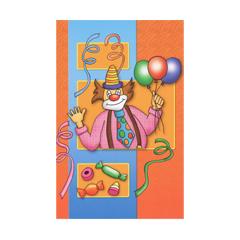 carnavalskaart - clown -  oranje blauw