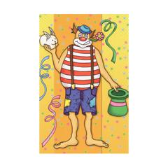 carnavalskaart - clown - geel oranje