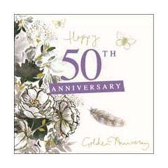 50 jaar jubileum - wenskaart van woodmansterne -  happy 50th anniversary -  golden anniversary