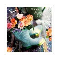 verjaardagskaart woodmansterne esprit - many happy returns - tuinlaarzen met bloemen