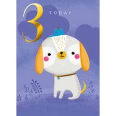 3 jaar - verjaardagskaart 3 today - hondje