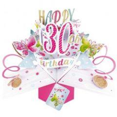 3D verjaardagskaart - pop ups - happy 30th birthday - vlinders