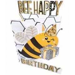 3d verjaardagskaart paper dazzle - bee happy it's your birthday