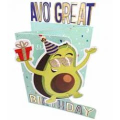 3d verjaardagskaart paper dazzle -avo great birthday - avocado