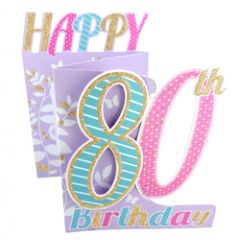 80 jaar - 3d verjaardagskaart cutting edge - happy 80th birthday - roze