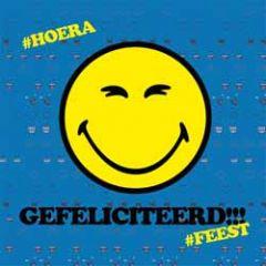 wenskaart 3D - smiley - gefeliciteerd #feest #hoera
