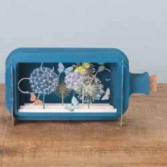 3D pop up wenskaart - message in a bottle - vlinders en bloemen