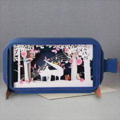 3D pop up wenskaart - message in a bottle - piano vleugel